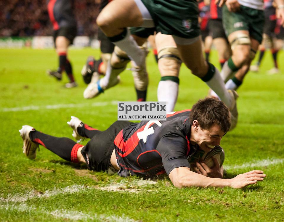 Lee Jones scores in the corner, Edinburgh Rugby v London Irish, Heineken Cup, Murrayfield Stadium