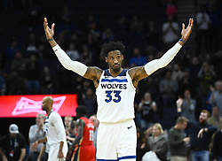 November 14, 2018 - Minneapolis, MN, USA - The Minnesota Timberwolves' Robert Covington (33) celebrates a 107-100 win against the New Orleans Pelicans on Wednesday, Nov. 14, 2018, at Target Center in Minneapolis. (Credit Image: © Aaron Lavinsky/Minneapolis Star Tribune/TNS via ZUMA Wire)
