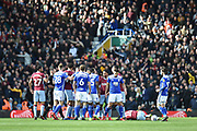 The Birmingham City players and The Aston Villa players  melee following a foul on Aston Villa midfielder Jack Grealish (10) during the EFL Sky Bet Championship match between Birmingham City and Aston Villa at St Andrews, Birmingham, England on 10 March 2019.