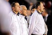 DESCRIZIONE : Roma Lega A 2014-15 <br /> Acea Virtus Roma - Giorgio Tesi Group Pistoia<br /> GIOCATORE : <br /> CATEGORIA : arbitri arbitro pre game inno<br /> SQUADRA : Acea Virtus Roma<br /> EVENTO : Campionato Lega A 2014-2015 <br /> GARA : Acea Virtus Roma - Giorgio Tesi Group Pistoia<br /> DATA : 22/03/2015<br /> SPORT : Pallacanestro <br /> AUTORE : Agenzia Ciamillo-Castoria/N. Dalla Mura<br /> Galleria : Lega Basket A 2014-2015  <br /> Fotonotizia : Roma Lega A 2014-15 Acea Virtus Roma - Giorgio Tesi Group Pistoia