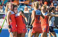 BREDA - Maria Verschoor (Ned) heeft de stand op 4-1 gebracht,   tijdens de finale  Nederland-Japan van de 4 Nations Trophy dames 2018 . links Laurien Leurink (Ned) COPYRIGHT KOEN SUYK
