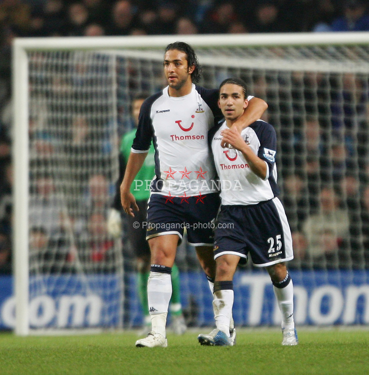 MANCHESTER, ENGLAND - WEDNESDAY, JANUARY 4th, 2006: Tottenham Hotspur's Mido celebrates scoring the opening goal against Manchester City with his team-mate Aaron Lennon during the Premiership match at the City of Manchester Stadium. (Pic by David Rawcliffe/Propaganda)