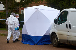 © Licensed to London News Pictures. 20/10/2019. Milton Keynes, UK. Forensic police officers walk past a tent at the scene in Archford Croft in Emerson Valley where two 17 year old boys were stabbed to death overnight. Two adult males where also injured. Thames Valley Police have begun a double murder investigation but have yet to make any arrests.  Photo credit: Cliff Hide/LNP