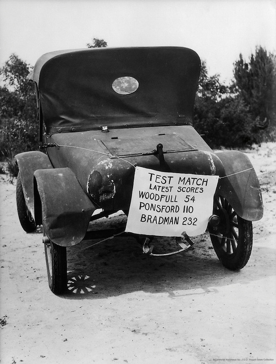 """Test Match Latest Scores"" Sign On Car, Coober Pedy, Central Australia, 1930"
