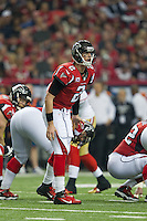 20 January 2013: Quarterback (2)Matt Ryan of the Atlanta Falcons calls an audible against the San Francisco 49ers during the first half of the 49ers 28-24 victory over the Falcons in the NFC Championship Game at the Georgia Dome in Atlanta, GA.