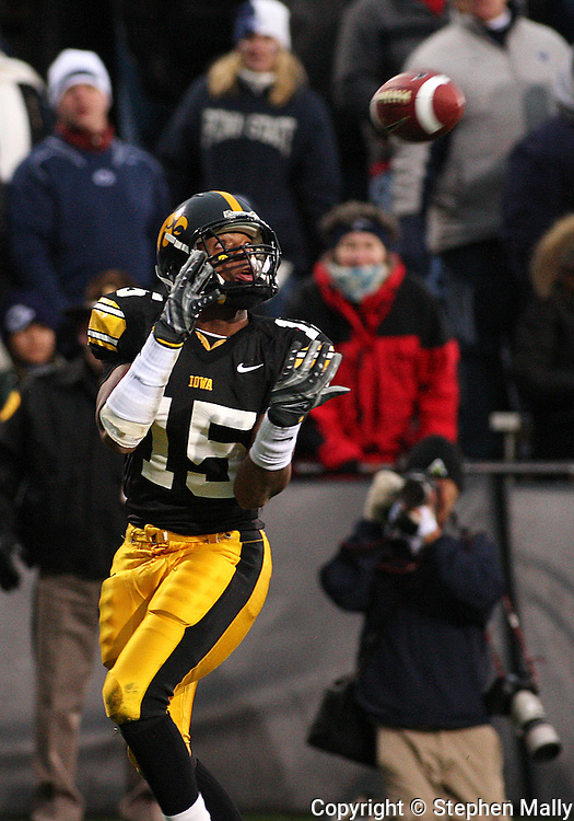 08 NOVEMBER 2008: Iowa wide receiver Derrell Johnson-Koulianos (15) pulls in a 27 yard touchdown reception in the second half of an NCAA college football game against Penn State, at Kinnick Stadium in Iowa City, Iowa on Saturday Nov. 8, 2008. Iowa beat Penn State 24-23.