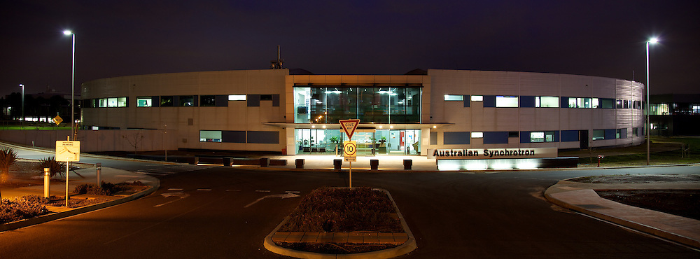 The main building of the Australian Synchrotron, external view at night.