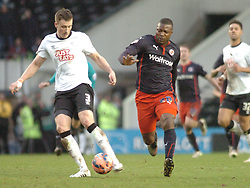 Derby Craig Forsyth holds of Reading Yakubu Derby County v Reading, FA Cup 5th Round, The Ipro Stadium, Saturday 14th Febuary 2015