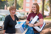 19026 Student move in day ..Dede Brand mom talks to Logan Brand