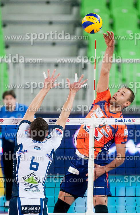 Andjelo Cuk #10 of ACH Volley during volleyball match between ACH Volley (SLO) and Tours VB (FRA) in 3rd Round of CEV Champions League on November 5, 2013 in Arena Stozice, Ljubljana, Slovenia. (Photo by Urban Urbanc / Sportida)