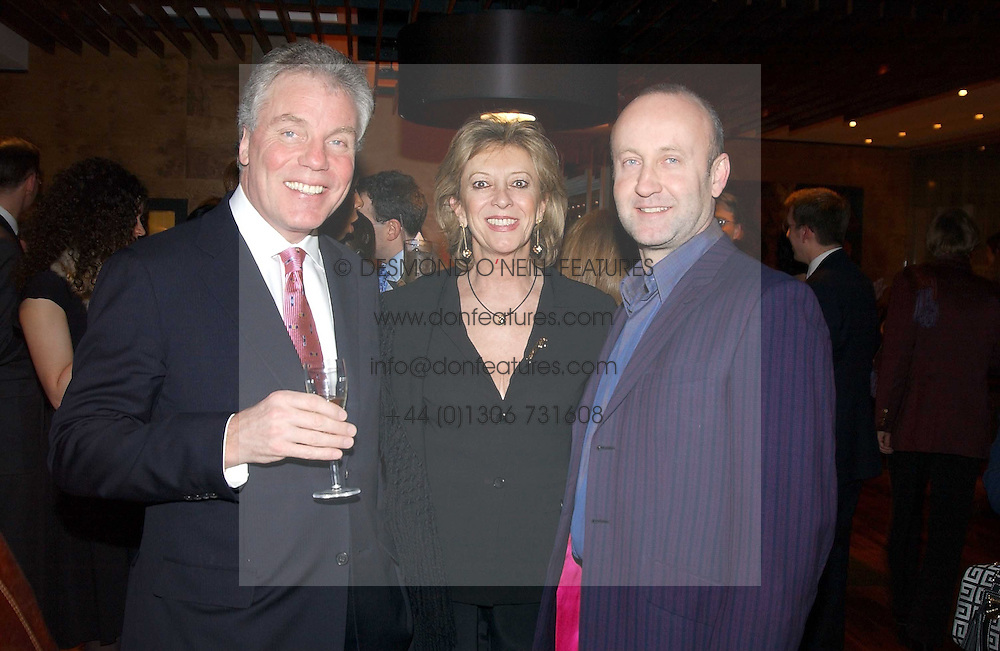 Left to right, CHRIS HUTCHESON father in law of Gordon Ramsay, MARIE-CLAIRE, BARONESS VON ALVENSLEBEN and MR SEBASTIAN SAINSBURY at the opening party of Pengelley's, 164 Sloane Street, London SW1 on 22nd February 2005.<br />