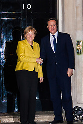 Downing Street, London, January7th 2015. German Chancellor Angela Merkel meets with British Prime Minister David Cameron at 10 Downing Street following a visit to the British Museum's Germany exhibition. The talks cover a wide range of issues including the forgthcoming G7 summit, the Ebola crisis and regional security issues as well as Britain's ongoing relationship with Europe.