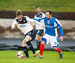 Falkirk's Rory Loy and Cowdenbeath's Jamie Stevenson.<br /> half time : Cowdenbeath 0 v 0 Falkirk, Scottish Championship game today at Central Park, the home ground of Cowdenbeath Football Club.<br /> &copy; Michael Schofield.