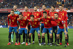 March 23, 2019 - Valencia, Valencia, Spain - Line up of Spain (L-R) David De Gea, Sergio Ramos, Inigo Martinez, Sergio Busquets, Dani Parejo, Alvaro Morata, Rodrigo Moreno, Dani Ceballos, Marco Asensio and Jordi Alba during the 2020 UEFA European Championships group F qualifying match between Spain and Norway at Estadi de Mestalla on March 23, 2019 in Valencia, Spain. (Credit Image: © Jose Breton/NurPhoto via ZUMA Press)