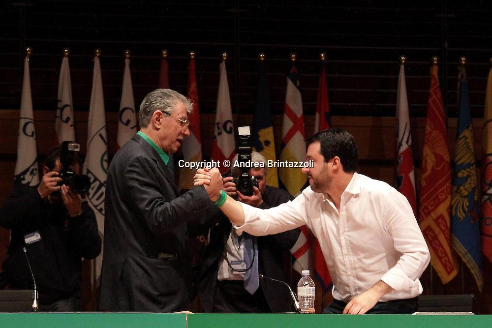 Torino 15 Dicembre 2013. Lingotto Fiere Congresso Federale Lega Nord Padania.<br /> Umberto Bossi, Matteo salvini