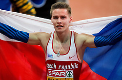 Pavel Maslák of Czech Republic celebrates after winning in the 400m Men Final on day two of the 2017 European Athletics Indoor Championships at the Kombank Arena on March 4, 2017 in Belgrade, Serbia. Photo by Vid Ponikvar / Sportida