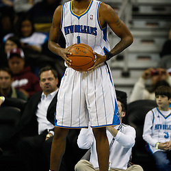 January 12, 2011; New Orleans, LA, USA; New Orleans Hornets small forward Trevor Ariza (1) against the Orlando Magic during the second half at the New Orleans Arena. The Hornets defeated the Magic 92-89.  Mandatory Credit: Derick E. Hingle