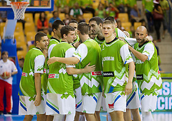 Team Slovenia during basketball match between National teams of Slovenia and Spain in Round 1 at Day 2 of Eurobasket 2013 on September 5, 2013 in Arena Zlatorog, Celje, Slovenia. (Photo by Vid Ponikvar / Sportida.com)
