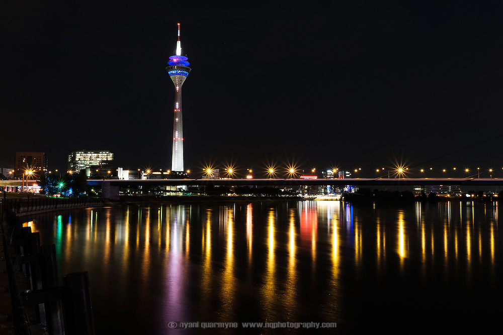 At a total height of 240.5m, the Rhineturm (Rhine Tower) is the tallest building in Düsseldorf, Germany. On one side it features a light sculpture which functions as the largest digital clock in the world.