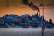 Slussen Stockholm en mycket kall vinterdag