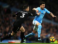 Kyle Walker of Manchester City takes on Ben Chilwell of Leicester City - Mandatory by-line: Matt McNulty/JMP - 10/02/2018 - FOOTBALL - Etihad Stadium - Manchester, England - Manchester City v Leicester City - Premier League