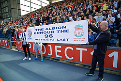 WEST BROMWICH, ENGLAND - Sunday, May 15, 2016: West Bromwich Albion supporters pay tribute to remember the 96 victims of the Hillsborough disaster, before the final Premier League match of the season against Liverpool at the Hawthorns. (Pic by David Rawcliffe/Propaganda)