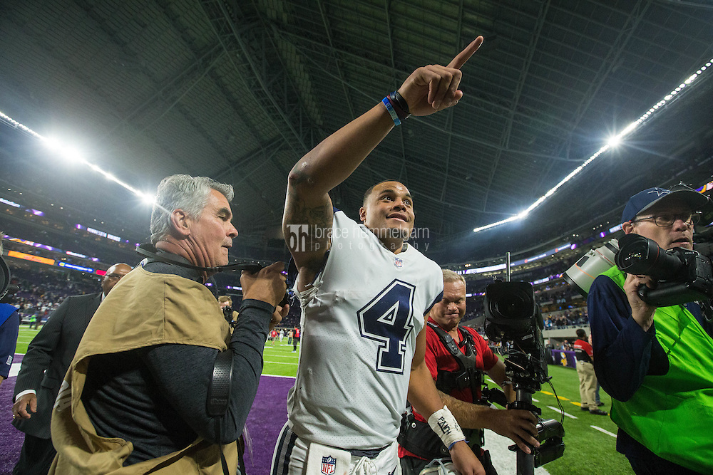 Dec 1, 2016; Minneapolis, MN, USA; Dallas Cowboys quarterback Dak Prescott (4) following the game between the Dallas Cowboys and Minnesota Vikings at U.S. Bank Stadium. The Cowboys defeated the Vikings 17-15. Mandatory Credit: Brace Hemmelgarn-USA TODAY Sports