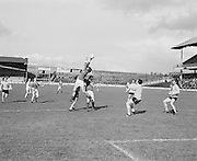 Mayo jumps high for the ball during the Antrim v Mayo All Ireland Minor Gaelic Football Final in Croke Park on the 8th of September 1974.
