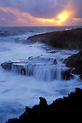 Sunrise and rocky coastline, Shete Boka National Park near Boka Wadomi; Curaçao, Netherlands Antilles.