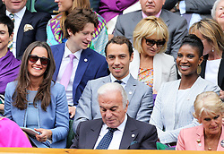 Pippa Middleton, James Middleton and Denise Lewis  in the  Royal Box on Centre Court on the opening day of Wimbledon 2013<br /> London, Monday, 24th June 2013<br /> Picture by Stephen Lock / i-Images