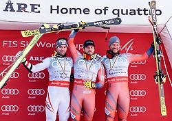 15.03.2018, Aare, SWE, FIS Weltcup Ski Alpin, Finale, Aare, SuperG Weltcup, Siegerehrung, im Bild v.l. Vincent Kriechmayr (AUT, 1. Platz Tageswertung SuperG und SuperG Weltcup 3. Platz), SuperG Weltcup Sieger Kjetil Jansrud (NOR) mit der kleinen Kristallkugel, Aksel Lund Svindal (NOR, Super G Weltcup 3. Platz und 3. Platz Tageswertung SuperG) // f.l. today Super G racewinner and Super G World Cup 3rd placed Vincent Kriechmayr of Austria Super G World Cup winner Kjetil Jansrud of Norway with his crystal globe and Super G World Cup 3rd placed and today Super G third placed Aksel Lund Svindal of Norway during the winner Ceremony for the SuperG Worlcup of FIS Ski Alpine World Cup finals in Aare, Sweden on 2018/03/15. EXPA Pictures © 2018, PhotoCredit: EXPA/ Johann Groder