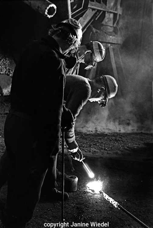 Taking samples at Shelton Bar Iron and Steel Works  in Stoke on Trent in the 1978 just before it was closed down with loss of 2,500 jobs