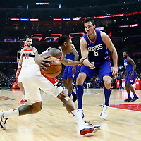 09 December 2017: LA Clippers forward Danilo Gallinari (8) defends on Washington Wizards forward Otto Porter Jr. (22) during the LA Clippers 113-112 victory over the Washington Wizards, at the Staples Center, Los Angeles, California, USA.