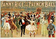 Fanny Rice at the French ball Poster depicting the American actress Fanny Rice, d.1936. Vaudeville shows. Circa 1920