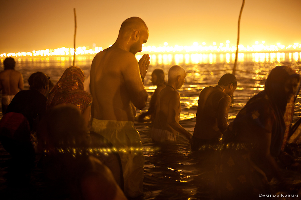 Maha Kumbh Mela, Allahbad, Morning of the full moon, Maghi Purnima Snan on 25th February 2013. An estimated 18 million people visited the Kumbh Mela that day.