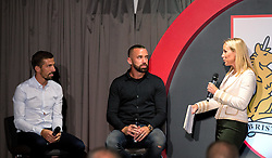 Gary O'Neil and Aaron Wilbraham of Bristol City are interviewed on stage by Lisa Knights during the Lansdown Club event - Mandatory by-line: Robbie Stephenson/JMP - 06/09/2016 - GENERAL SPORT - Ashton Gate - Bristol, England - Lansdown Club -