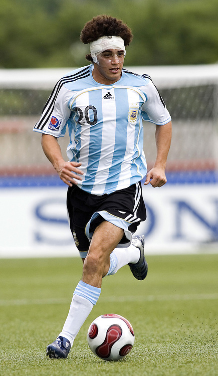 06 July 2007 (Ottawa--Canada) -- Argentina (ARG) versus the People's Democratic Republic of Korea (PRK) in the FIFA U-20 World Cup of Football. The Argentina won the game 1-0...Lautaro ACOSTA of Argentina...Photo credit Sean Burges/Mundo Sport Images.