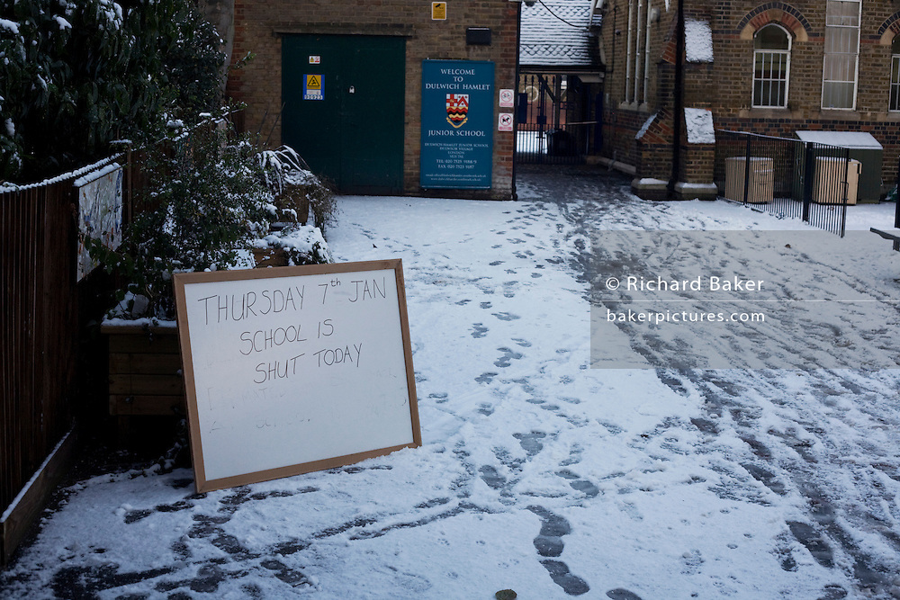 A sign that tells parents that the Dulwich Hamlet Junior School is closed for today, during harsh weather in early 2010.