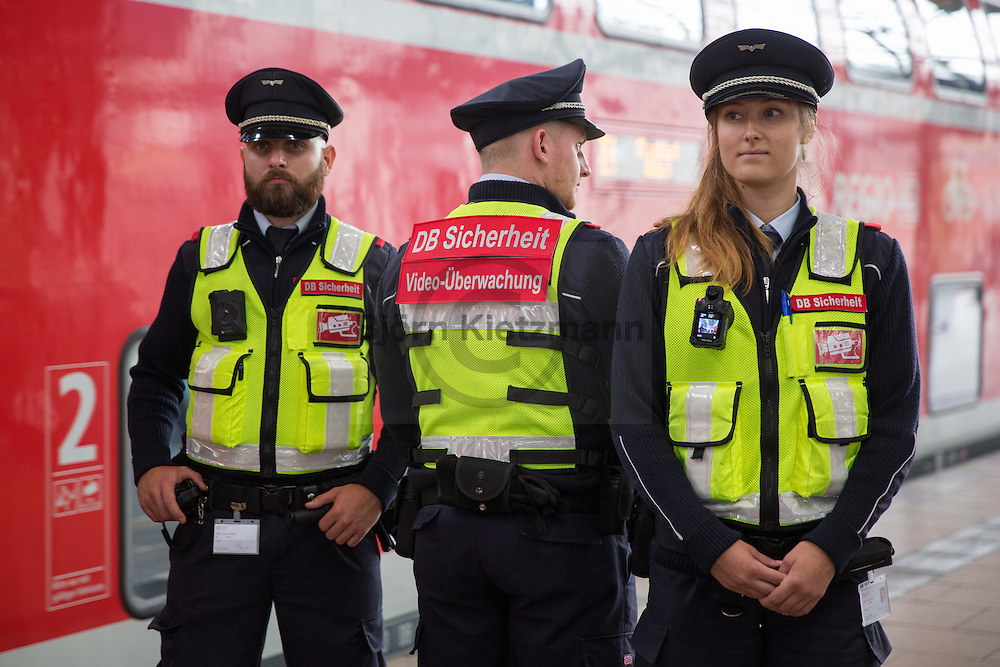 Berlin, Germany - 14.07.2016<br /> <br /> After the Federal Police has already had some experience with the use of body cameras in Berlin now the security staff of the Deutsche Bahn starts to use body cameras as pilot project. At Berlin-Alexanderplatz station, the project has now been  presented and launched.<br /> <br /> Nachdem die Bundespolizei Berlin bereits erste Erfahrungen mit dem Einsatz von Koerperkameras gemacht hat startet nun auch die DB-Sicherheit mit einem Bodycam Pilotprojekt. Am Bahnhof Berlin-Alexanderplatz wurde das Projekt nun vorgestellt und gestartet.<br /> <br /> Photo: Bjoern Kietzmann