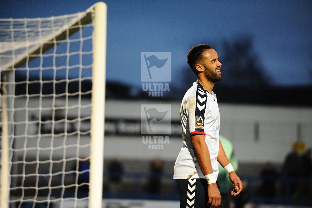 TELFORD COPYRIGHT MIKE SHERIDAN 5/1/2019 - CHANCE - Brendon Daniels of AFC Telford reacts after he volleys over with the score at 1-1 during the Vanarama Conference North fixture between AFC Telford United and Spennymoor Town.
