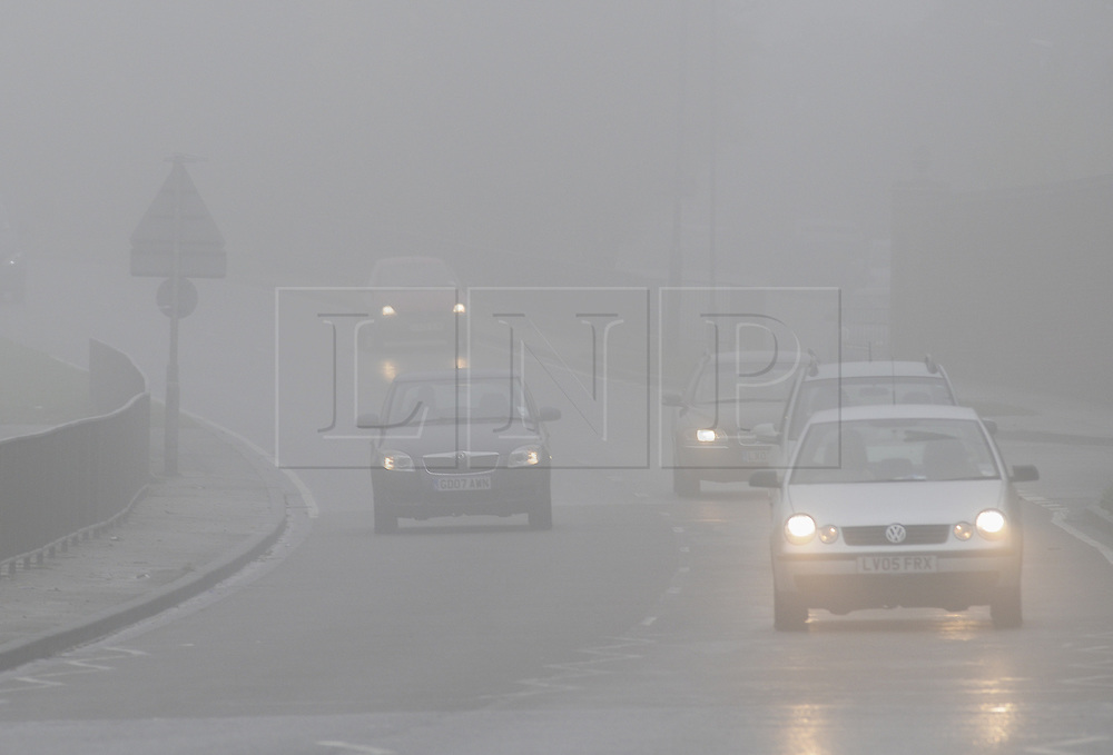 © Licensed to London News Pictures. 22/10/2012.Traffic on the A223 North Cray Road,Sidcup..Early morning mist this morning (22.10.2012) Footscray, Sidcup, Kent and south East London borders.Photo credit : Grant Falvey/LNP