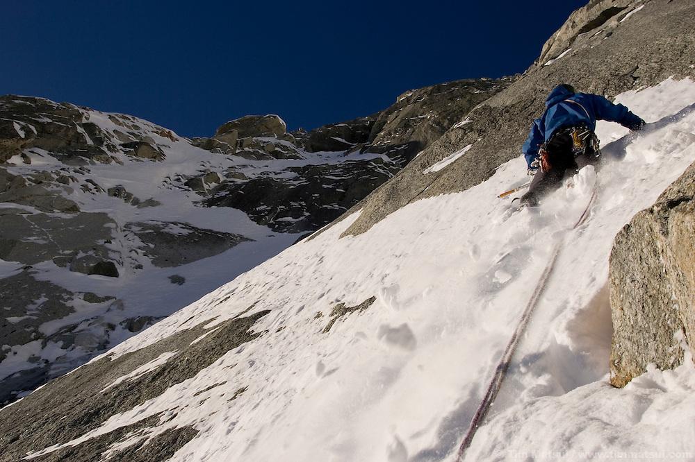Climbing the La Garde on Les Droites, Argentiere Glacier, Chamonix, France.