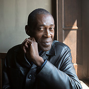 Ferrara, Italy, October 7, 2018. In Koli Jean Bofane, Congolese writer, is one of the guests of the Internazionale festival 2018.<br />His his first novel Mathematiques Congolaises (Actes sud 2011) won the Grand prix littéraire d'Afrique noir. in Koli Jean Bofane has been living in exile in Belgium since 1994.<br /> <br /> Ferraa, Italia, 7 Ottobre 2018. In Koli Jean Bofane, scrittore congolese. Il suo primo romanzo, Matematica congolese (66th and 2nd 2014), ha vinto il Grand prix littéraire d'Afrique noir nel 2008 e il Prix Jean Muno nel 2009. I suoi libri per bambini sono: Pourquoi le lion n'est plus le roi des animaux (Gallimard 1996), incentrato sulla dittatura che ha afflitto per decenni il suo paese, e Bibi et les canards (Gallimard 2000), sul tema dell'emigrazione. Con il romanzo Congo Inc. (66th and 2nd 2015), una satira sugli effetti della globalizzazione in Africa ha vinto il Prix des cinq continents de la francophonie. Vive in esilio in Belgio dal 1994.