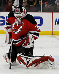 Jan 22, 2010; Newark, NJ, USA; New Jersey Devils goalie Martin Brodeur (30) makes a save during the second period at the Prudential Center.