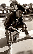 DJ Joey Beltram on the roof of a hotel in LA before he set off for a gig in Mexico with Kevin Saunderson. The gig was cancelled just as the party arrived at the Mexican border. The tour turned round and returned to LA, 1990/1