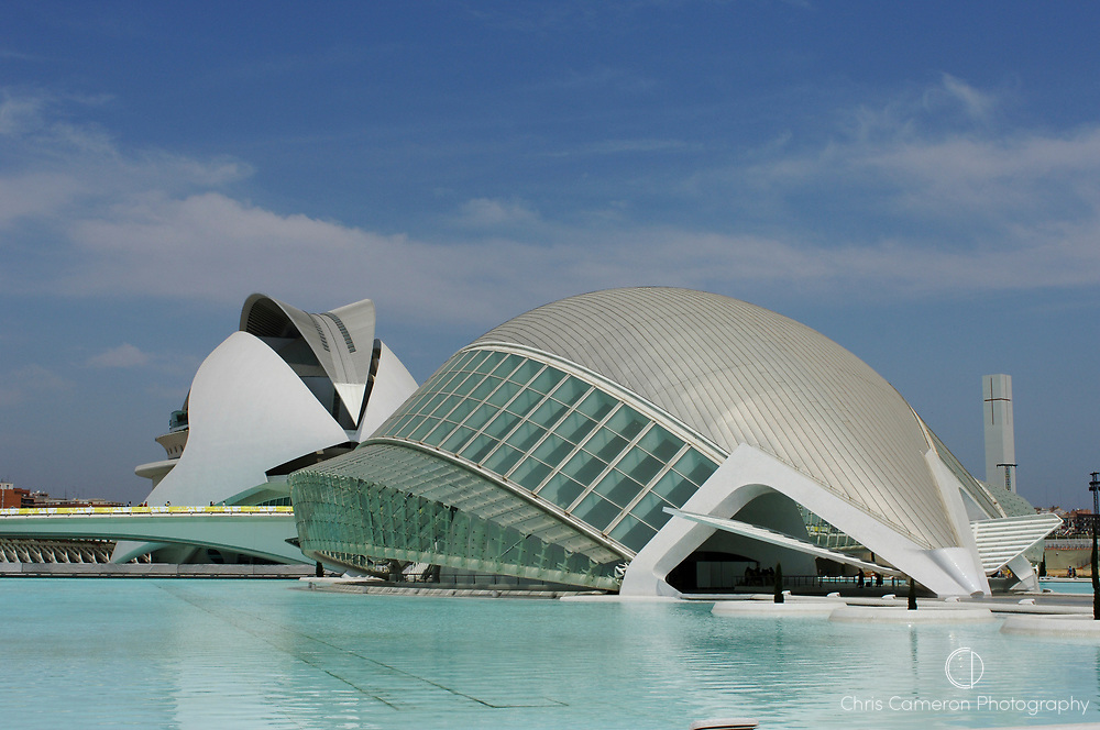 L`Hemisferic and the Palau de les Artes (Palace of the Arts), Ciudad de las Artes Y las Ciencias (City of the arts and Sciences), Valencia, Spain.9/7/2006