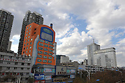 KUNMING, CHINA - NOVEMBER 16:  china out - finland out<br /> <br /> Mobile Phone-shaped Building<br /> Photo shows a Mobile Phone-shaped Building, which is a shopping mall to sell mobile phones, on November 16, 2013 in Kunming, Yunnan Province of China. <br /> ©Exclusivepix
