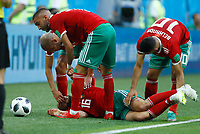 Noureddine Amrabat (Morocco) passed out after a strong tackle<br /> Saint Petersburg 15-06-2018 Football FIFA World Cup Russia  2018 <br /> Morocco - Iran / Marocco - Iran <br /> Foto Matteo Ciambelli/Insidefoto