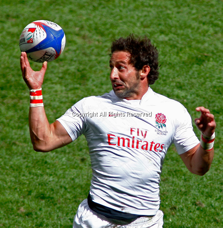 22/05/2011 TWICKENHAM ENGLAND.  England's Ben Gollings misses a catch during the HSBC Rugby World 7s series played at Twickenham Stadium.