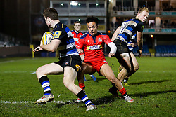 Bath United replacement Owen Waters is challenged by Bristol United replacement Elias Caven - Mandatory byline: Rogan Thomson/JMP - 28/12/2015 - RUGBY UNION - The Recreation Ground - Bath, England - Bath United v Bristol United - Aviva A League.